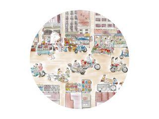 Waterverfillustratie van een drukke voedselstraatmarkt in China. Er zijn menigten rijden motorfietsen en straatverkopers schreeuwen.