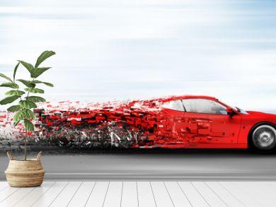 speeding car disintegrating