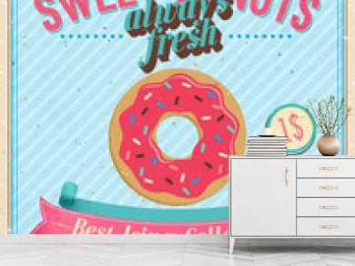 Vintage Donuts Poster. Vector illustration.