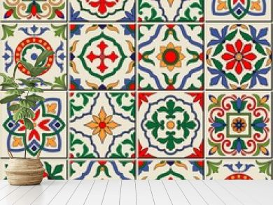 Gorgeous seamless  pattern . Moroccan, Portuguese  tiles, Azulejo, ornaments.