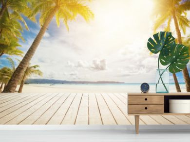 wooden dock with tropical background