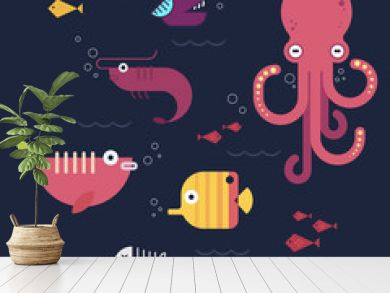 Flat design fishes. Part 3