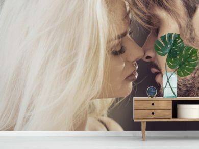 Closeup portrait of a kissing couple