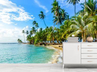 Beautiful lonely beach in caribbean San Blas island, Kuna Yala, Panama. Turquoise tropical Sea, paradise travel destination, Central America