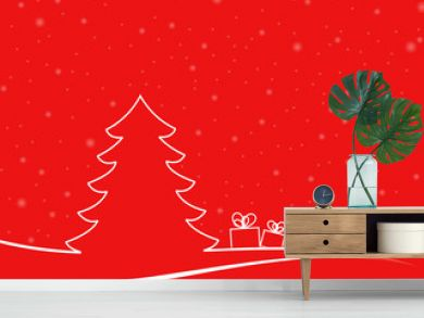 Abstract christmas tree in a minimal landscape with two gitf boxes and white snowflakes. christmas illustration with red background and white shapes