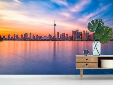 Toronto downtown skyline with sunset