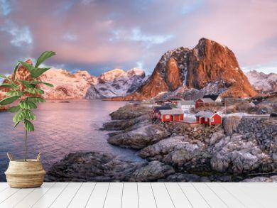 Houses in the Lofoten islands bay. Natural landscape during sunrise