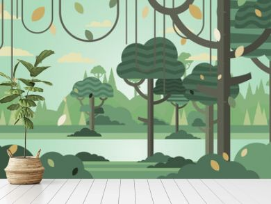 Green forest silhouette nature landscape abstract background flat design.Vector illustration.