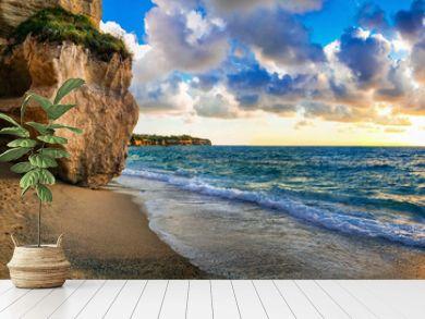 amazing sea sunset in small hidden beach in Tropea, Calabria, Italy