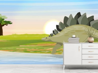 Stegosaurus near the lake. Prehistoric animals and plants. Vector landscape of the Mesozoic or Jurassic period.