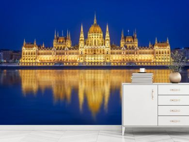 Budapest parliament illuminated at night and Danube river, Hungary