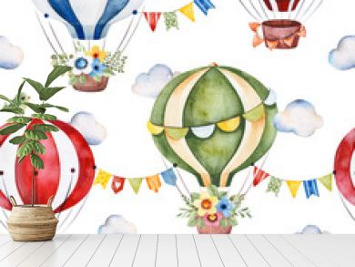 Lovely circus pattern.Seamless Texture with cute air balloons,bouquets,garlands,fluffy clouds and more.Perfect for wedding,invitations,wallpaper,print,packaging design,Birthday cards and baby shower