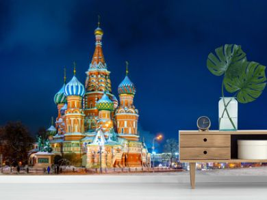 Moscow. Russia at Christmas. Night St. Basil's Cathedral. Evening Pokrovsky Cathedral. Winter Red Square. Russian cities. Russian architecture Moscow monuments. Moscow capital of Russia.