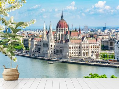 Hungarian parliament building and Danube river, Budapest, Hungary