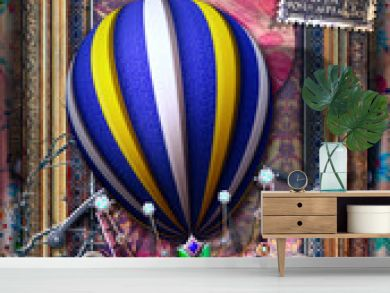 Background with old fashioned frame and hot air balloon