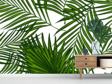 Abstract exotic plant seamless pattern. palm leaves wallpaper.