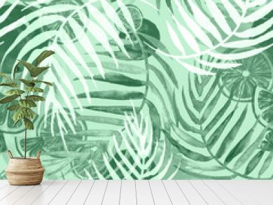 Watercolor painting, vintage seamless pattern - tropical fruits, citrus, slices of lemon, orange,  grapefruit. Splash of paint green. Watercolor tropical background.