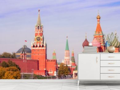 Spasskaya Tower, the Moscow Kremlin and St. Basil's Cathedral. Architecture and sights of Moscow.