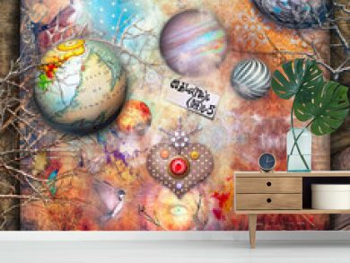 Surreal landscape with planets, stars, magic mushrooms and heart