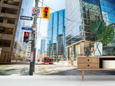 Toronto, Ontario, Canada - April 2, 2020: Downtown Toronto during Coronavirus pandemic. Empty streets of Toronto during rush our.