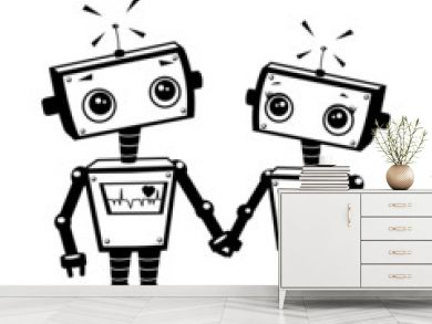 Robots in love, illustration