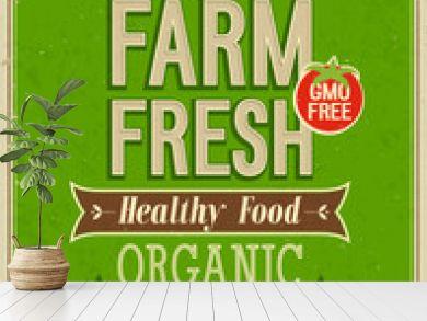 Vintage Farm Fresh Poster. Vector illustration.