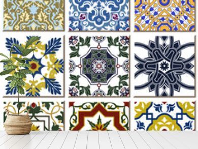 Vintage retro ceramic tile pattern set collection 028