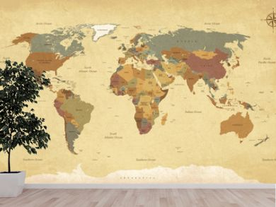Textured vintage world map - English/US Labels - Vector CMYK
