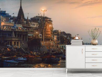 Varanasi India.  The oldest living city panorama