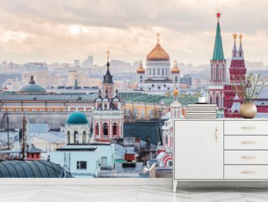 Aerial view on historic center of Moscow from Central Children Store. Zaikonospassky monastery, Main Department store, Cathedral of Christ the Saviour, Historic Museum. Moscow, Russia.