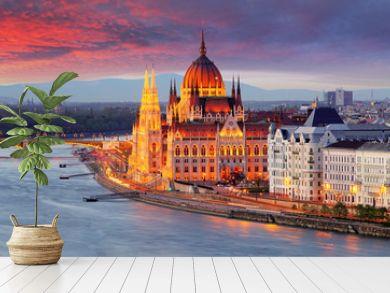 Hungarian parliament, Budapest at sunset