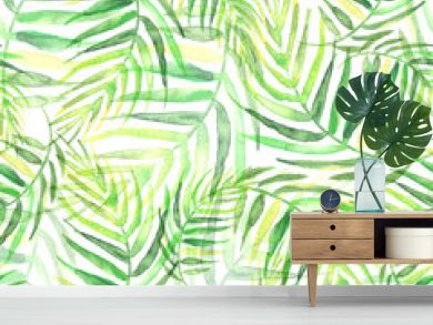 Seamless watercolor background from green tropical leaves, palm leaf, floral pattern.  Bright Rapport for Paper, Textile, Wallpaper, design. Tropical leaves watercolor.