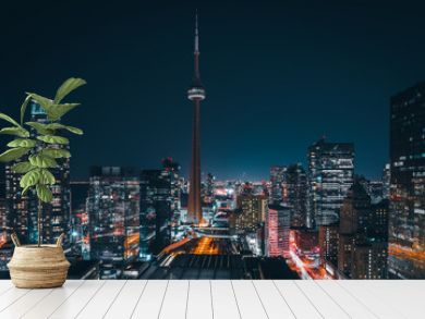 Entire futuristic city skyline view of downtown Toronto Canada. Modern buildings, urban architecture, cars travelling. construction and development in a busy city