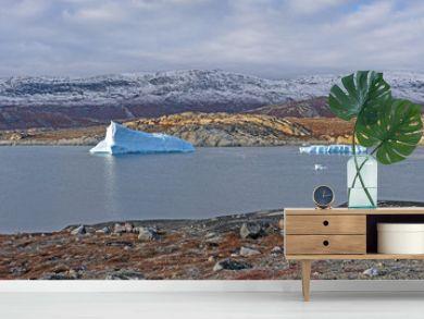 Icebergs in a Quiet Lagoon in the Arctic