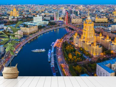 Aerial view of Moscow City with Moscow River, Russia, Moscow skyline with the historical architecture skyscraper and Moskva River and Arbat street bridge, Moscow, Russia.