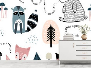 Semless woodland pattern with cute characters and hand drawn elements. Scandinaviann style childish texture for fabric, textile, apparel, nursery decoration. Vector illustration