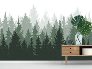 Forest background, nature, landscape. Evergreen coniferous trees. Pine, spruce, christmas tree. Silhouette vector
