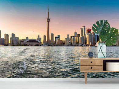 Toronto skyline at beautiful sunset  - Toronto, Ontario, Canada.