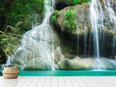 Beauty in nature, amazing Erawan waterfall in tropical forest of national park, Thailand