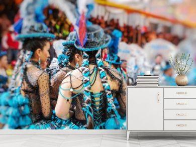 Dancers at Oruro Carnival in Bolivia. Selective Focus.