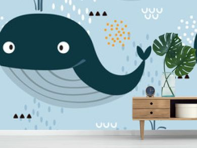 Whales, hand drawn seamless pattern. Marine background vector. Colorful illustration, overlapping backdrop. Decorative cute wallpaper, good for printing
