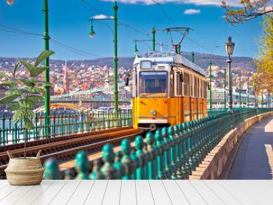 Budapest Donau river waterfront historic yellow tramway view