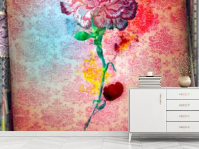 Decorative background with red carnation