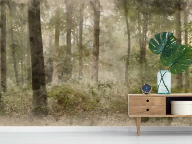 Digital watercolor painting of Panorama landscape image of Wendover Woods on foggy Autumn Morning.