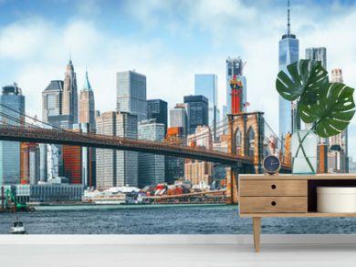 Suspension Brooklyn Bridge across Lower Manhattan and Brooklyn. New York, USA.