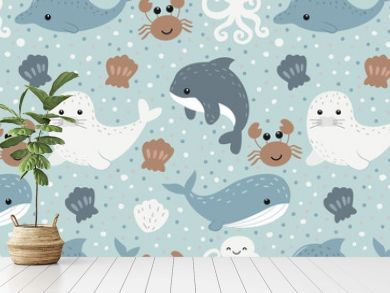 cute sea life in seamless pattern