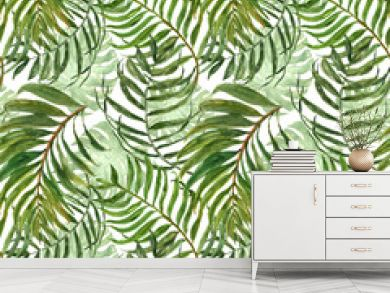 Trendy tropical seamless background pattern. Watercolor green tropic forest palm tree leaves on white backdrop. Summer jungle exotic repeat print. Botanical greenery and foliage illustration.