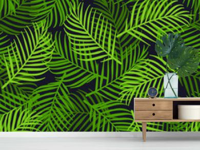 Palm leaves vector background seamless pattern