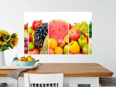 Collection fresh fruits and vegetables isolated on white background. Panoramic collage.